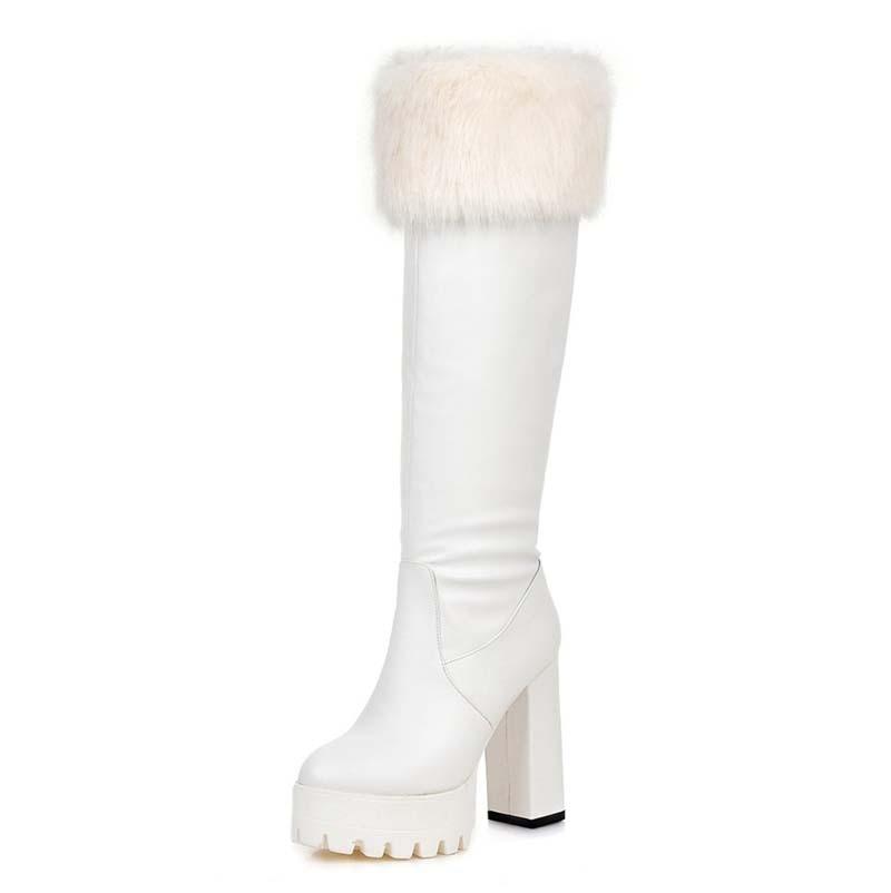 ФОТО Platform Boots Shoes New Knee-High Boots Square heel High Round Toe Platform Boots New Hot Women warm Knight boots