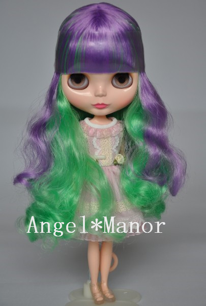 Scalp With Hair For Blyth Not Doll Purple Green Long Hair With