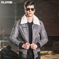 2016 Men's air force flight jackets real leather jacket pigskin denim Genuine Leather jacket men leather coat padding cotton