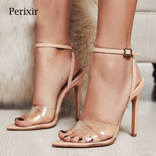 Perixir Women Fahsion PVC Clear transparent high heel sandals shoes summer for women party sexy pu