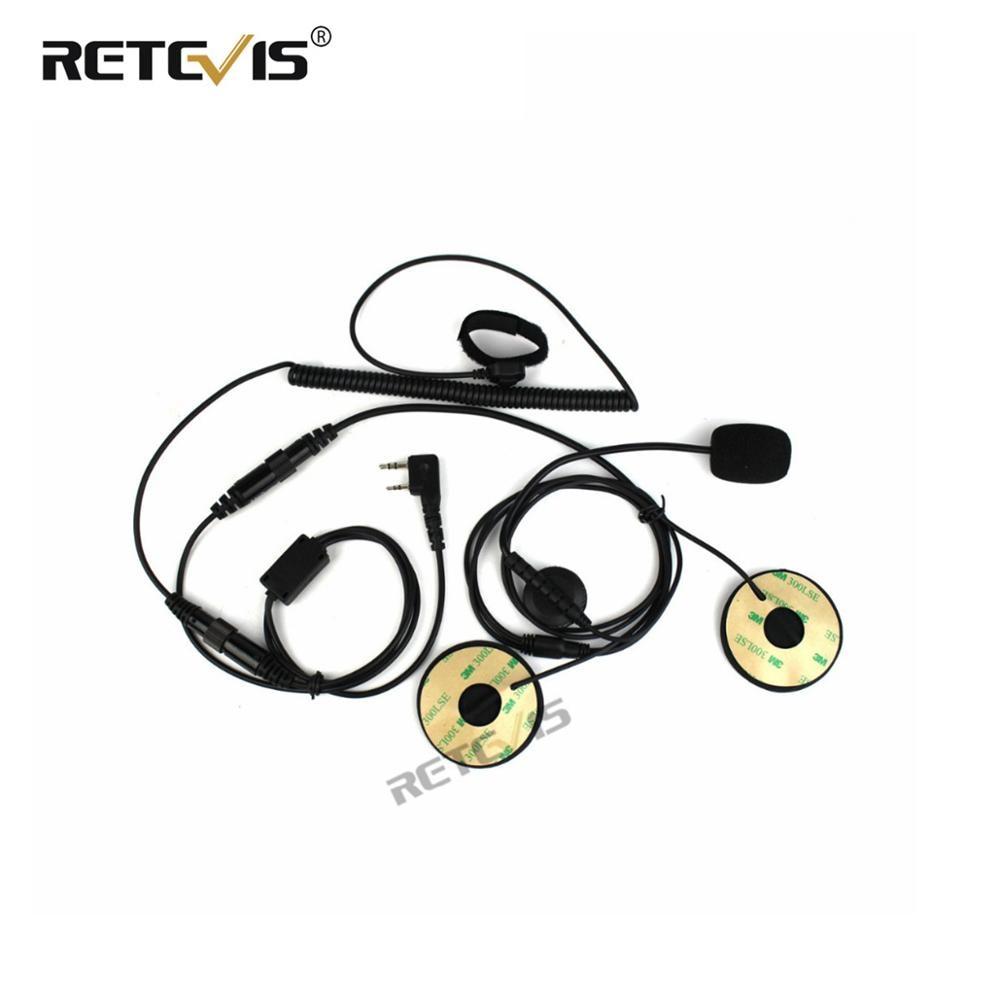 Motorcycle Helmet Headset 2Pin Finger PTT Dual Speakers Walkie Talkie Earpiece for Kenwood for Baofeng UV-5R Retevis RT22 H777(China)