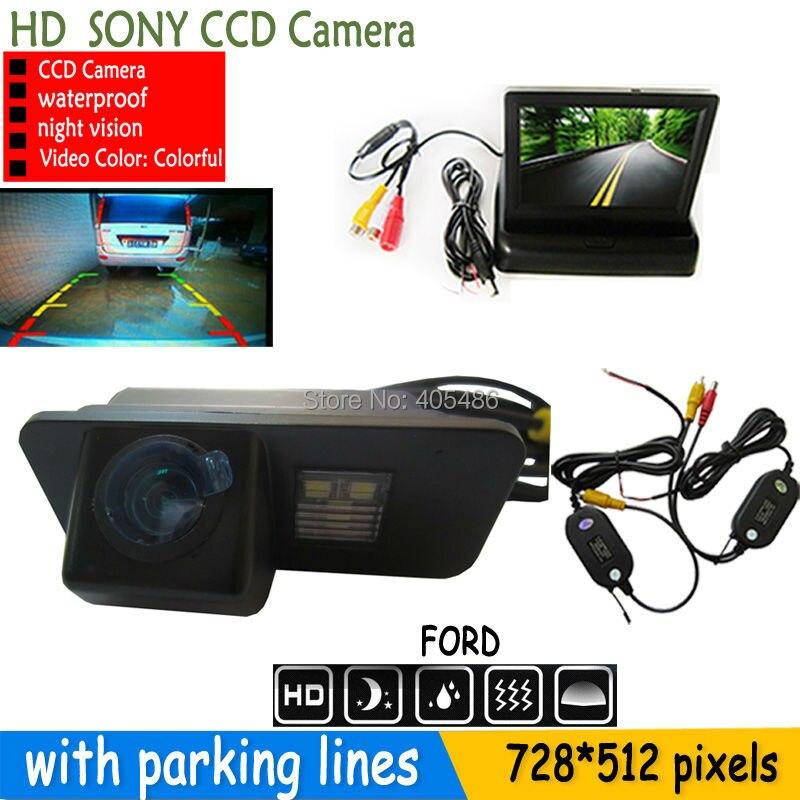 4.3 pouces moniteur de voiture miroir TFT LCD pour FORD MONDEO FIESTA FOCUS/s-max KUGA vision nocturne parking voiture sans fil caméra de recul