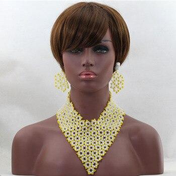 Splendid  Yellow&White Jewelry Beads Set  Wedding Jewelry Gift Crystal Beads Wholesale Necklace Bracelet Set Free Shipping hx420