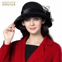 SIGGI Women 100% Wool Felt Hats 1920s Vintage Bowler Derby Church Bucket Classic Elegant Fashion classic chapeau 88096