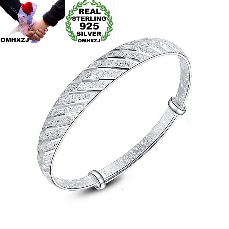 Steady Omhxzj Wholesale Personality Fashion Ol Woman Girl Gift Silver Meteor Resizable 925 Sterling Silver Cuff Bangle Bracelet Br145 Cheap Sales Jewelry & Accessories