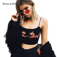 Weyes Kelf Sexy Chinese Wind Dragon Printed Sling Camis Cropped Top Women 2018 Off Shoulder Short