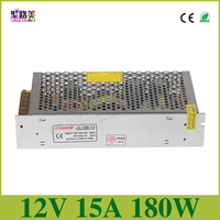 High Quality 1pcs DC 12V 15A 180W Led Regulated Switching Power Supply AC110V 240V Output To