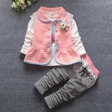Date Bébé Filles Costumes Infantile/Nouveau-Né Vêtements Ensembles Enfants Gilet + T-shirt + Pantalon 3 Pcs Ensembles Enfants costumes