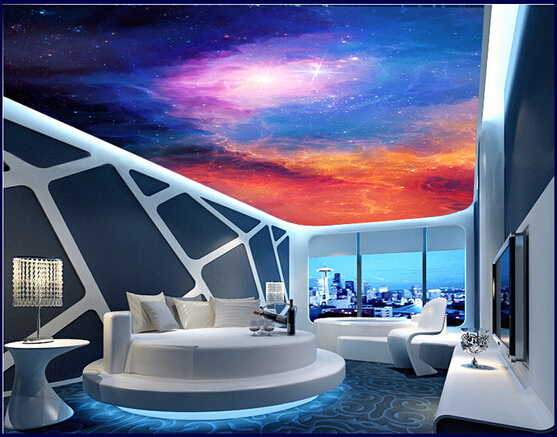 3d large murals colorful sky ceiling wallpaper for walls for Ceiling mural in a smoker s lounge
