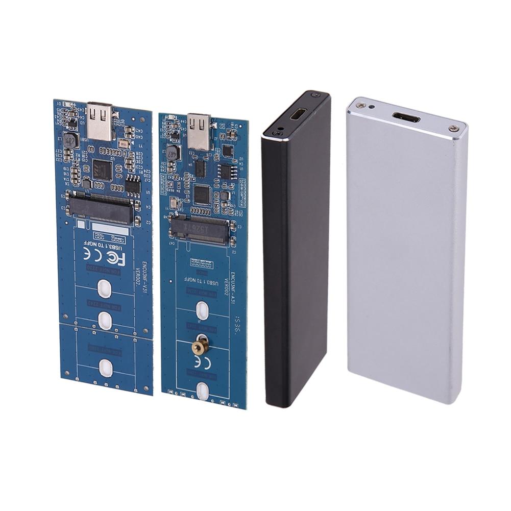 M.2 B Key SSD to USB 3.1 Type-C Enclosure 5/10Gbps Card Converter Adapter External Aluminum Enclosure Case + USB Cable цена