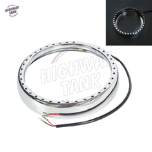 7″ Chrome Motorcycle Headlight Trim Ring with Light Case for Harley Davidson Touring Electra Street Glide