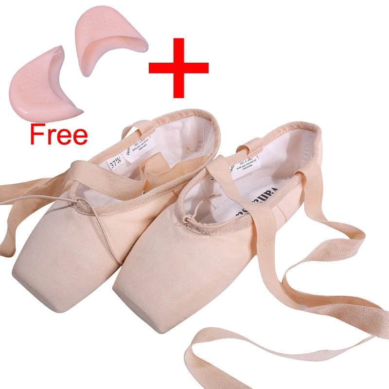Platno Balet Pointe Cipele s gelom Toe Pad Djevojke Ženska Pink Profesionalni Balet Dance Toe Cipele 31-40W Besplatna dostava