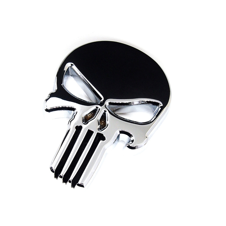 6x4.3cm Top Quality The Punisher Skull Head Solid Zinc Alloy Chrome Metal Car Styling Emblem 3D Sticker Cool Scary Exterior Mark