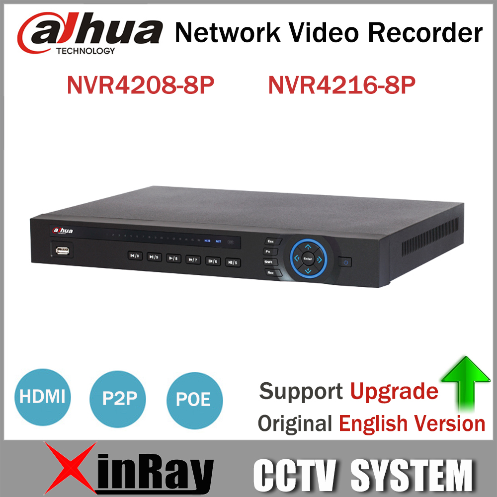 Original Dahua 8POE NVR NVR4208-8P NVR4216-8P 8/16CH PoE NVR for Dahua IP Camera Support Two Way Talk HD 5MP NVR