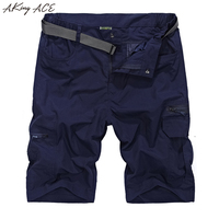 2017 AKing ACE Mens Summer Army Cargo Shorts Waterproof Fast Dry Short Pants Men Elastic Waisted