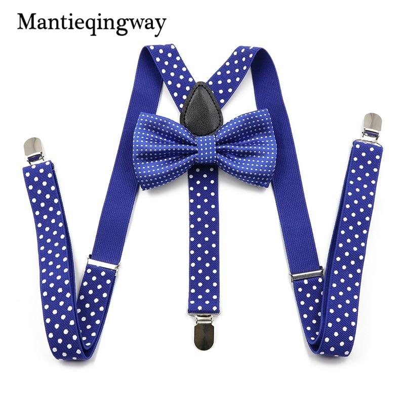 Unisex Suspenders Bowtie Sets 3 Clip-on Y Back Elastic Suspenders Polka Dots Printed Braces Belt Strap For Mens