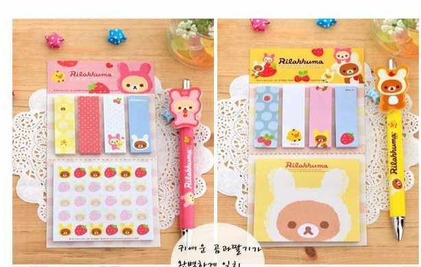 1Pcs New Kawarii Cartoon Rilakkuma Memo Notepad Note Book Memo Pad Sticky Notes Memo Set Gift Stationery H0395