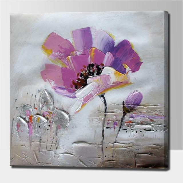 Fleur Peinture Avec Palette Couteau Acrylique Fleur Abstraite Art