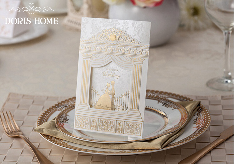 Fashion Wedding Invitation CardsGold Foiling Frame Church Style Invitations Suppliers 50sets Lot Printable BH1118 In Cards From