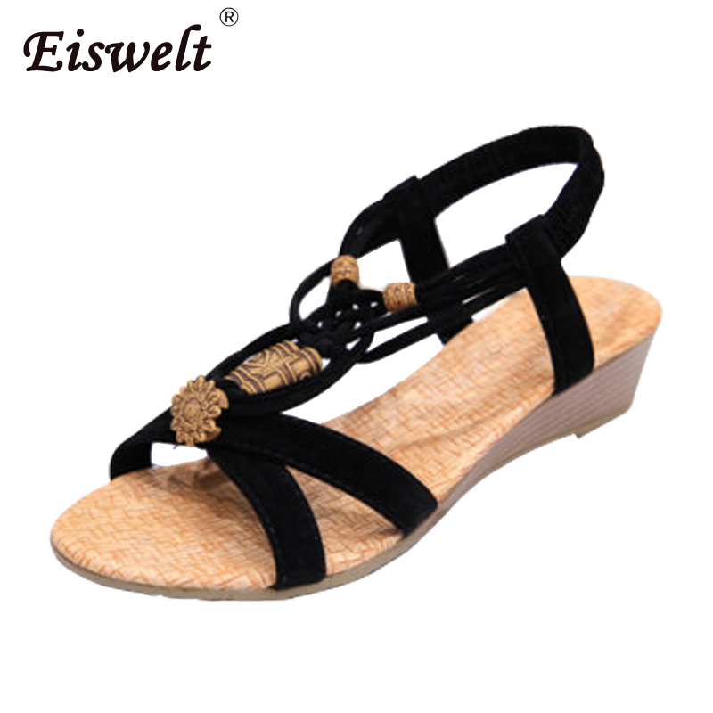 EISWELT Women Shoes Female Sandals Comfort Sandals Summer Causal Fashion High Quality Flat Ladies Sandals Gladiator Women Sandal 2015 summer new fashion and leisure solid cool women sandls flat buckle knot women sandal breathable comfort women sandals e309