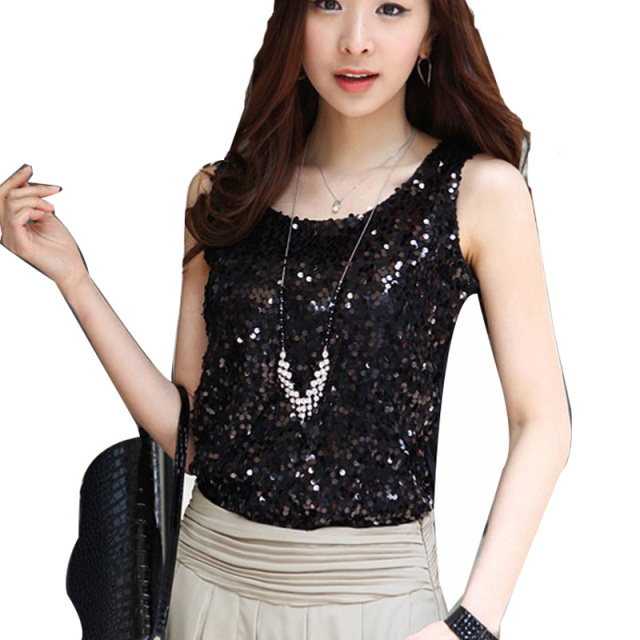 a8e760a0b5e Black Gold Sequin Tank Top Sexy Women Summer Tanks Tops Plus Size  Sleeveless Blouse 4XL Prom Tube Regata Feminina Fitness
