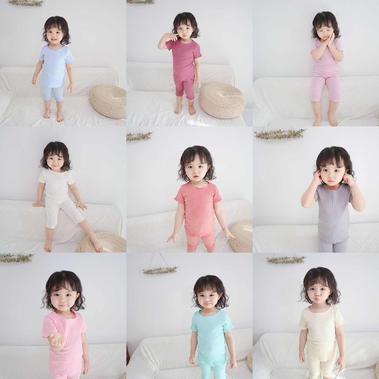 2019 夏新子供のパジャマセット女の子菌秘密サイドベストスーツパジャマ fille 10 ans