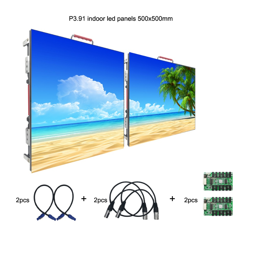 SMD2121 Indoor P3.91 Rental Stage Led Display 500mm x 500mm Led Video Wall Panel Screen For Church With Black Light-in LED Displays from Electronic Components & Supplies