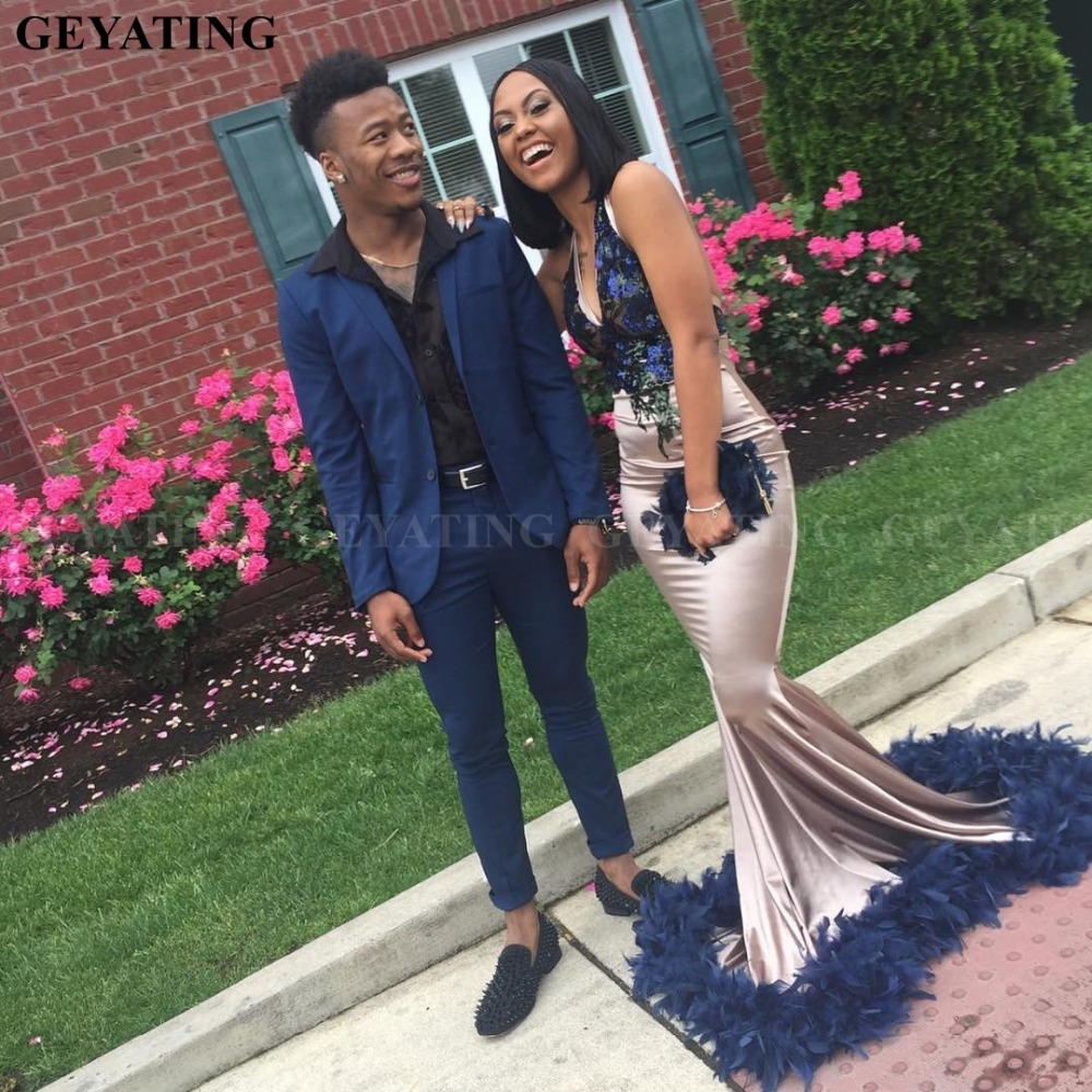 Navy Blue Feather Plus Size Mermaid African Prom Dresses For Black Girls Sexy Halter V Neck Backless Bestidos De Gala Party Gown