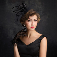 f3ef9c4184 Kseniya Queen Women Top Hat Retail Black Mesh Feather Veil Headband Feather  Hats Wedding Hats For