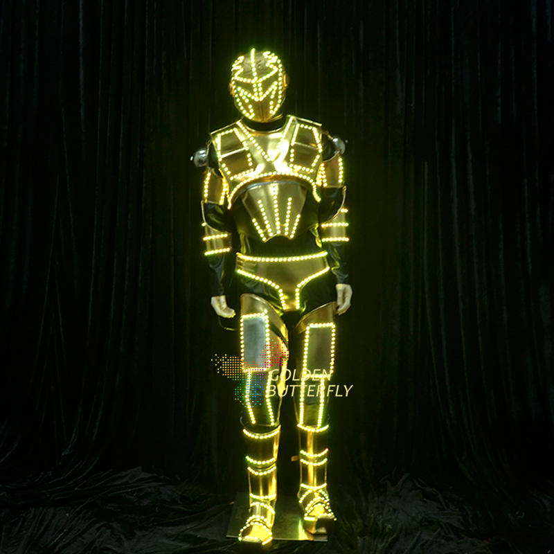 LED robot Clothing Light Future Soldier Robot Suits 2017 new men Luminous Costume Helmet Glowing LED Clothes Mechanical Dance