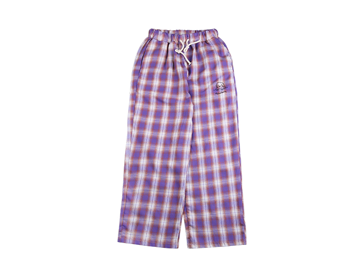 2018 Embroidery Drawstring Detail Purple Plaid   Pants   High Waist Trousers Elastic Cropped Womens Casual   Pants     Capris   Cartoon