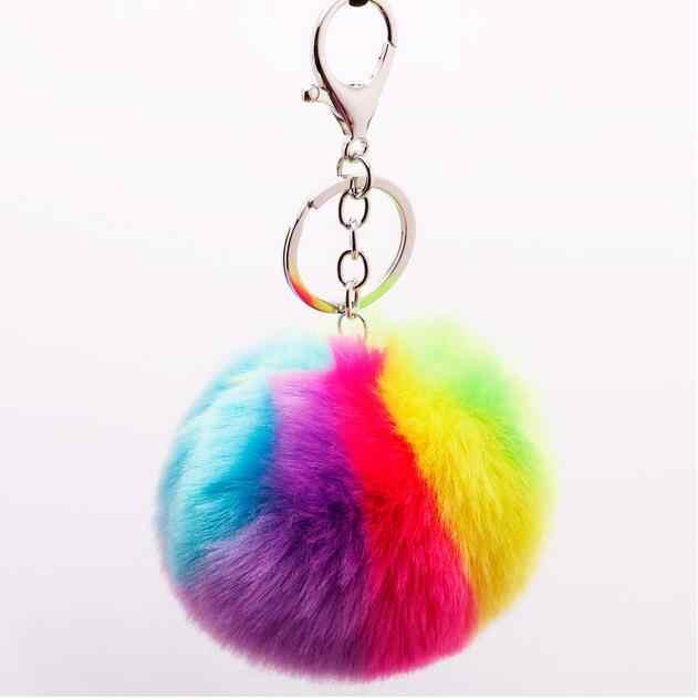 Luxo Multicolor Coração Encantador da Forma Do Coração Keychain Macio Pompons De Pele Macia 10CM Coelho Genuine Fur Bola Bolsa Chave Do Carro anel