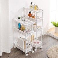Kitchen Organizer Storage Shelf With Wheel Shelf Gap storage rack Removable Storage Shelf with Handle Gap Shelves 3/4 layers