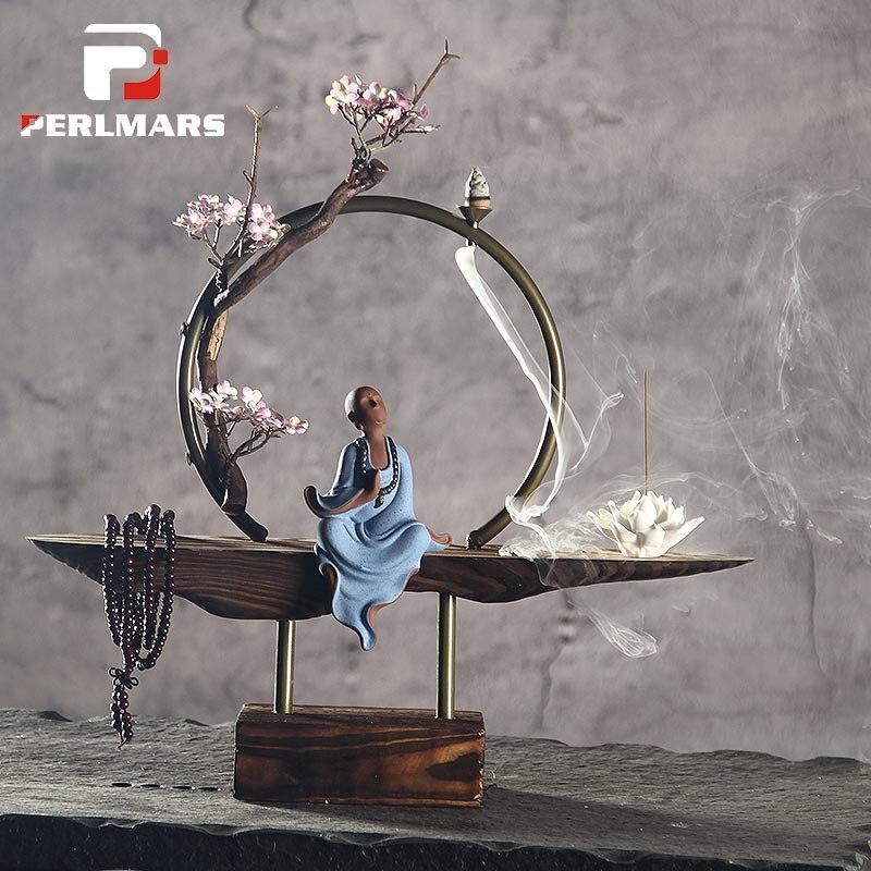 Style Zen Bouddha En Céramique Brûleur D'encens Porte-Bâton Reflux De Fumée Cône Four À Encens Base En Métal Cercle Créatif Décor À La Maison