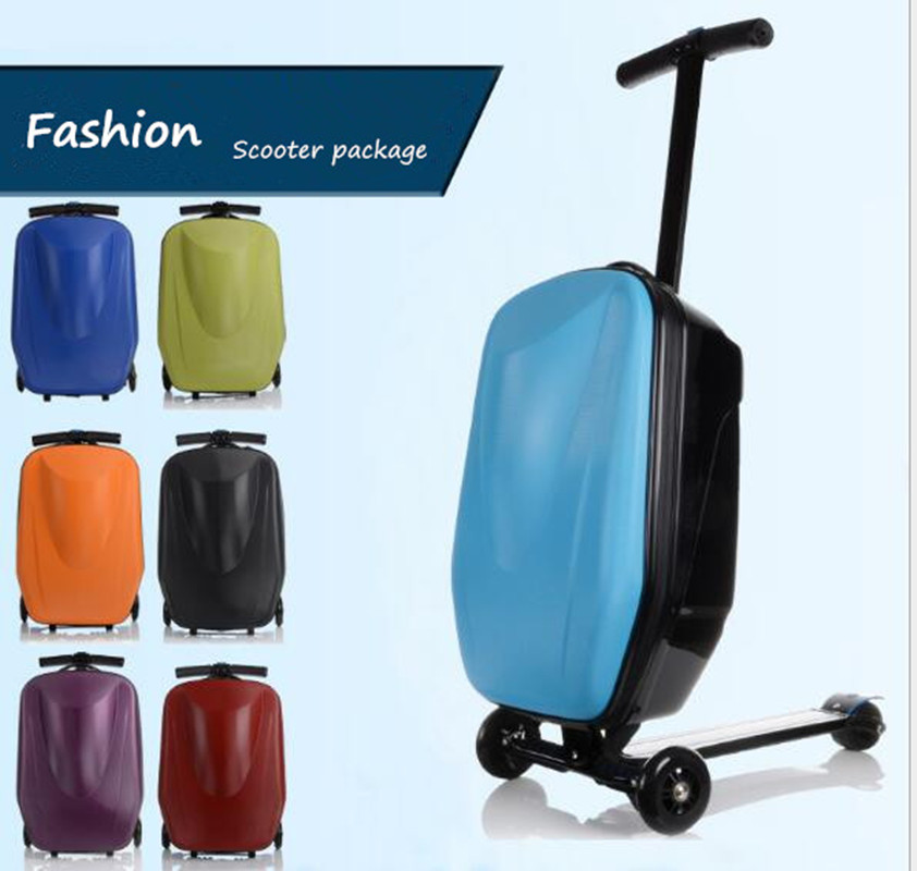 Fashion Scooter Rolling Luggage ABS Trunk Suitcase Men Travel Box Boarding Bag Skateboard Case alloy Rod Trolley Student LX007 new fashion eva scooter rolling luggage women red trolley 20 boarding box men carry on travel bag student suitcase card trunk