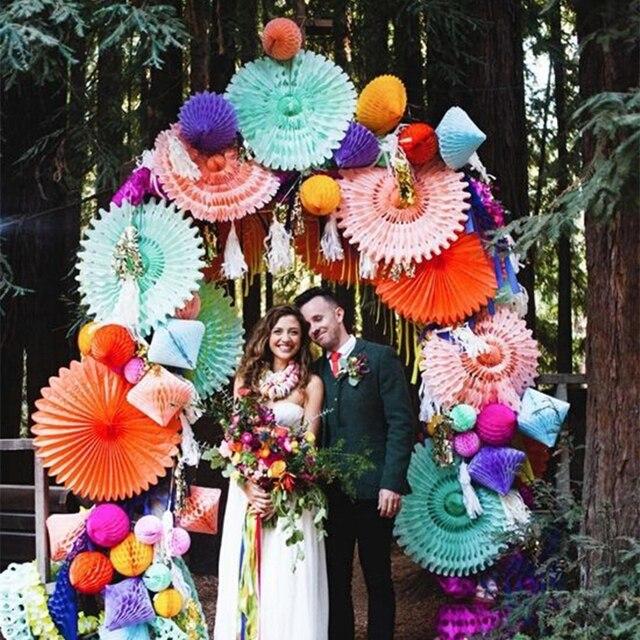Decorative Crafts 20CM 1PCS Flower Origami Paper Fan Wedding Decoration Home Decorations Birthday Party Kids