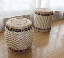 Eco Friendly Handmade Seat Cushion Natural Straw Braid Tatami Restaurant Waiting Coffee Wood Inner