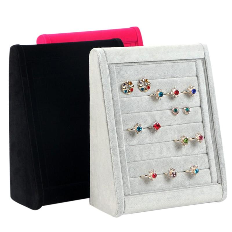 Earrings Organizer Ear Studs Jewelry Display Stand Holder Rack Showcase 3 Colors 30x24x9cm Velvet Ring Organizer Jewelry Display jewelry organizer ring display stands ring showed tray holder for rings showcase velvet organizer box for women decorations