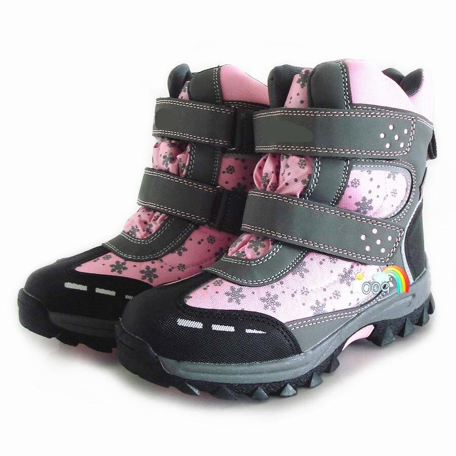 100% Wahr Neue 1 Paar-30 Grad Mädchen Wasserdichte Stiefel Schnee Winter Warme Ski Kinder Stiefel + Inner Natürliche Wolle, Kinder Mode Stiefel Gute QualitäT