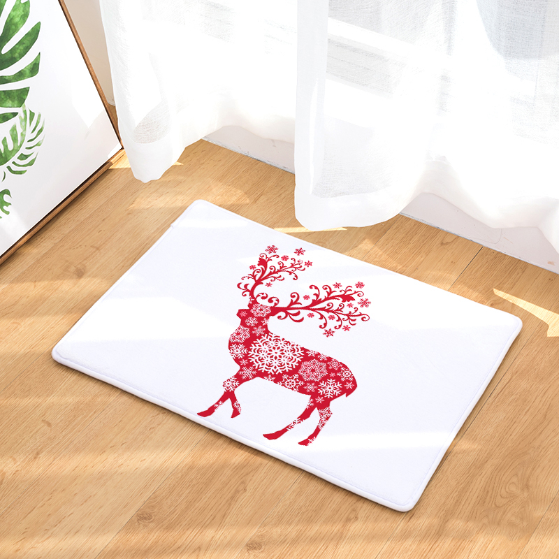 Homing Durable Water Absorption Doormats for Entrance Door Cartoon Floral Christmas Deer Rugs Flannel Light Bedroom Carpet Decor