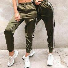 Женские леггинсы для фитнеса, спортивные штаны с высокой талией в полоску, повседневные штаны, женская одежда, лето