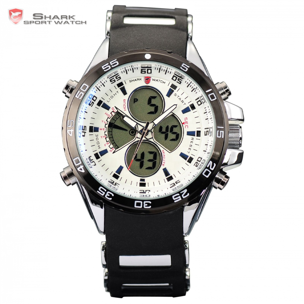 SHARK Sport Watch Quartz Dual Time Date Display Alarm Digital Analog Rubber Strap Stopwatch Men Wrist Military Relogio / SH056 brand new ohsen rectangle dial digital dual time lcd mens date alarm stopwatch analog quartz sport leather wrist watch ohs034