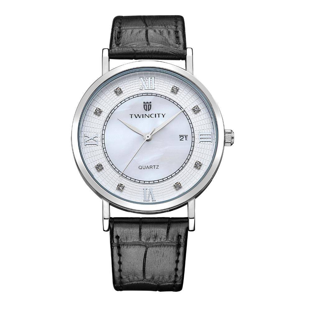 TWINCITY Luxury Lovers Women Men Quartz Watch Lovers' Reloj Relogio Brand Dress Leather Automatic Date серьги серебро с раухтопазом и фианитами присцилла