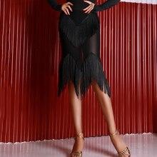 Модная юбка для латинских танцев для женщин, черная бахрома, танго, ча-Самба, Румба, Бальные тренировочные юбки для танцев с кисточками, юбки для танцев DC1653
