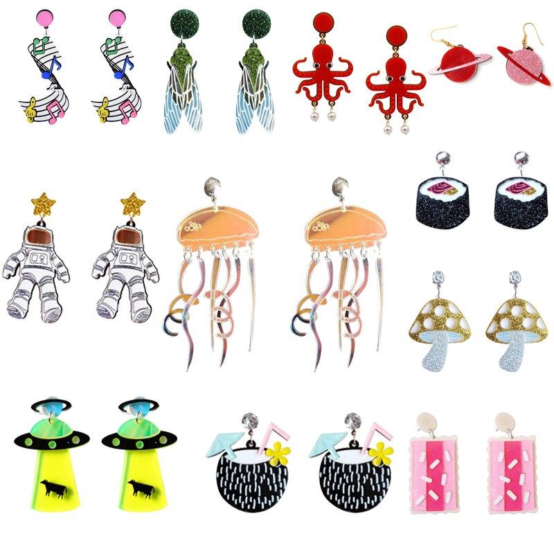 Acrylic Cute Big Drop Earrings 2019 Astronaut Food Tassel Jellyfish Octopus Pearl Earrings For Women Trendy Jewelry Party Gift(China)