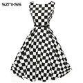 50 s dress mulheres vestidos xadrez preto branco para as mulheres 2016 elegante festa vestido de audrey hepburn estilo pinup rockabilly do vintage dress