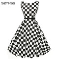 50s Dress Women Black White Plaid dresses for women 2016 Elegant vintage Pinup Audrey Hepburn Style Gown Party Rockabilly dress