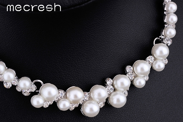 Simulated Pearl Wedding Jewellery Set Silver Plated Necklace & Earrings Set