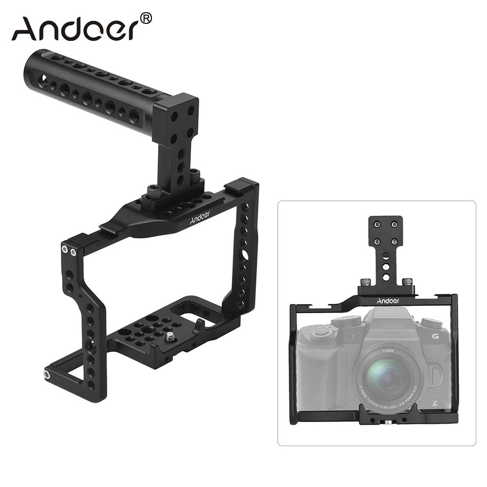 Andoer G85 Aluminum Alloy Camera Cage Top Handle Kit w Many 1 4 3 8 Mounting