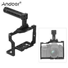 """Andoer G85 알루미늄 합금 카메라 케이지 + 탑 핸들 키트 (많은 1/4 """"3/8"""" 장착 구멍 포함) G85 G80 용 2 개의 콜드 슈 소켓"""